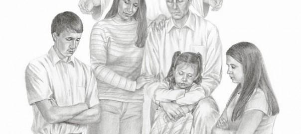 family praying with Jesus